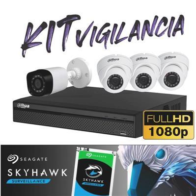 KIT DE SEGURIDAD FULL HD - DVR 4P XVR5104 1080P - 3DOMO - 1BULLET - 1 TB