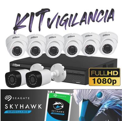 KIT DE SEGURIDAD FULL HD - DVR 8P HDCVI5108 1080P- 6DOMO - 1BULLET -