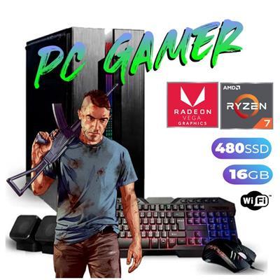 PC DE ESCRITORIO AMD - RYZEN 3 3200G- 8GB - DISCO SOLIDO 240GB - GABINETE KIT - FREEDOS