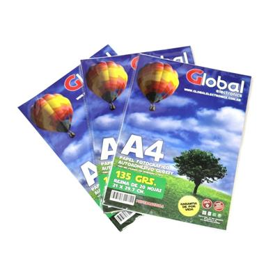 PAPEL FOTOGRAFICO GLOBAL AUTOADHESIVO GLOSSY 135grms A4