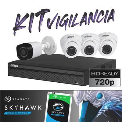 KIT DE SEGURIDAD HD - DVR 4P XVR4104 720P- 3DOMO - 1BULLET - 1TB