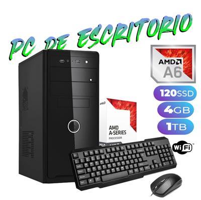 PC DE ESCRITORIO AMD A6-9500 3.8GHZ - 4GB - SSD 120GB - GABINETE KIT - FREEDOS