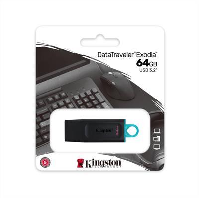 PEN DRIVE KINGSTON 64GB DATATRAVELER EXODIA 3.2 NEGRO