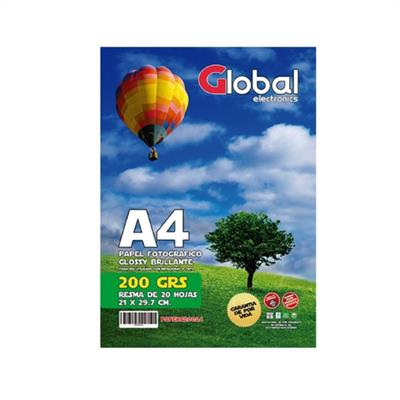 PAPEL FOTOGRAFICO GLOBAL A4 X 20 200grs GLOSSY